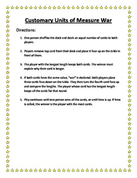 Customary Units of Length War Game