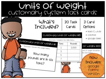 Customary Units of Weight Task Cards