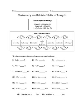 Customary and Metric Units of Length Practice