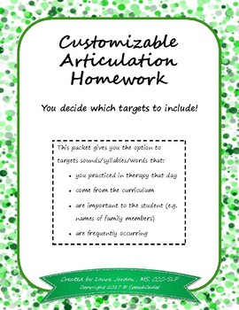 Customizable Articulation Homework