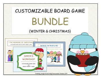 Customizable Board Game BUNDLE {Winter & Christmas} 3 Games