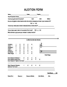 Customizable Choir Audition Form