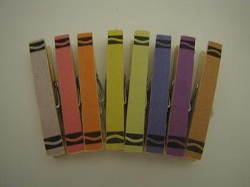 Customizable Crayon Clothespins Set of 8