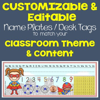 Back to School Customizable & Editable Name Tags to match