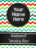 Customizable Notebook (Colorful Chevron and Chalkboard)