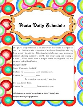 Customizable Photo Daily Schedule