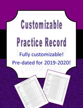 Customizable Practice Record for Music Classes (word version)