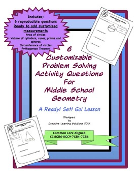 Editable Problem Solving Activity Sheets for Middle School