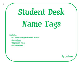 Customizable Student Desk Name Tags:100 Chart, Fraction Ty