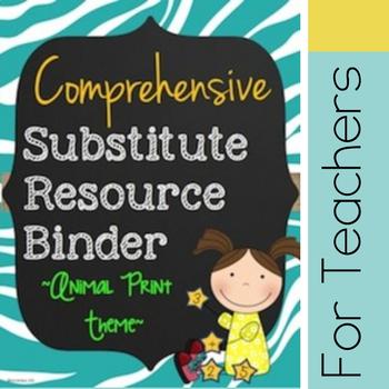 Customizable Substitute Resource Binder - Bright Animal Pr