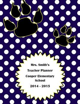 Customizable Teacher Planner Cover - navy/white paw