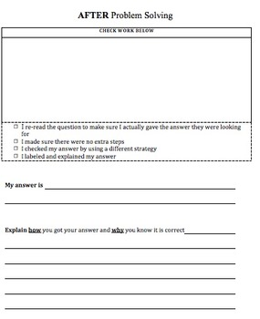 Multi-Step Word Problem Template- Before, During, & After