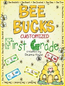 Customized Bee Bucks Incentive Dollars First Grade