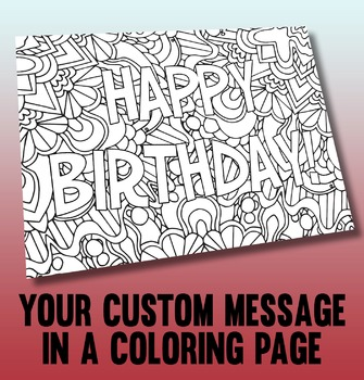 Customized printable coloring page made from your personal
