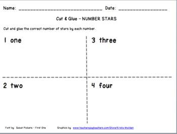Cut & Glue Number Stars FREEBIE
