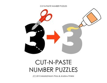 Cut-N-Paste Number Puzzles - Practice motor skills and cou