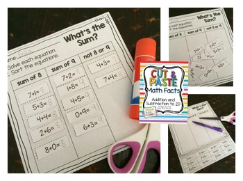 Cut & Past Math Facts {Addition and Subtraction to 20}