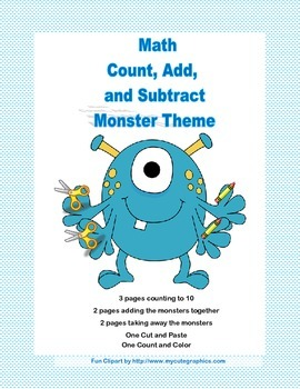 Cut, Paste, Count, Add, and Subtract Printable Worksheets-