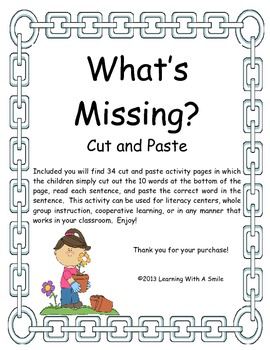 Sentence Fill-Ins ~ What's Missing? ~ Cut & Paste ~ Great