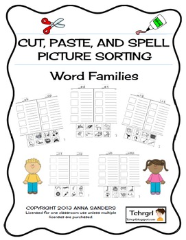 Cut and Paste & Spell Phonics Picture Sorting Worksheet- W