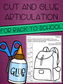 Cut and Glue Articulation for Back to School