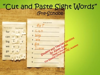 Cut and Make Sight Words (Pre-School)