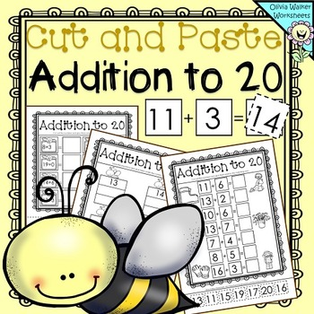 Cut and Paste Addition to 20 (Adding up to Twenty) Workshe