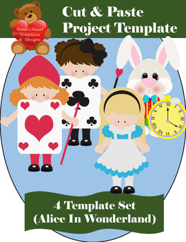 Cut and Paste Alice In Wonderland Template Set