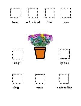 Cut and Paste Kindergarten Spring bee frog turtle flowers
