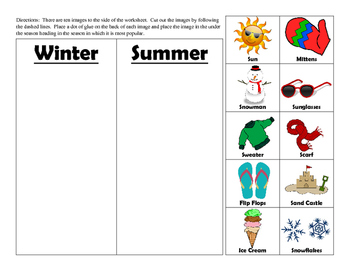 Cut and Paste Matching Worksheet
