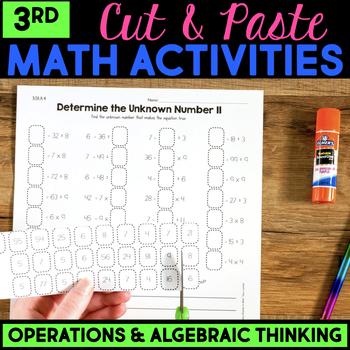 Cut and Paste Math Activities for Third Grade {OA} NO PREP