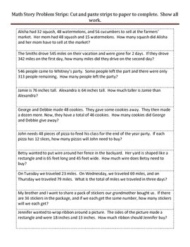 Cut and Paste Math Journal Word Problems