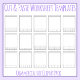 Cut and Paste Style Worksheet Templates / Layouts Clip Art