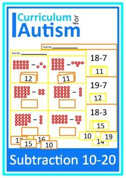 Autism Cut and Paste Subtraction 10-20 Math Worksheets, Sp