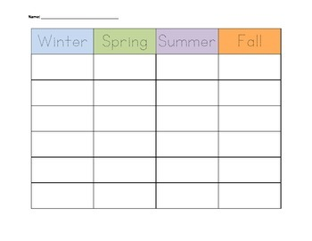 Cut-and-Sort Seasons Activity--Snowmen All Year Language A