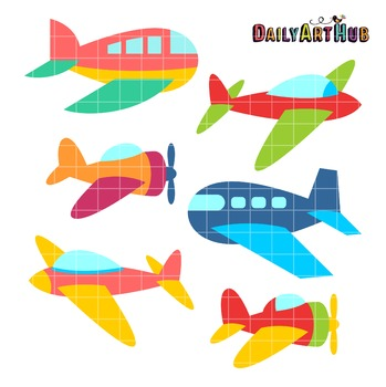 Cute Aeroplanes Clip Art - Great for Art Class Projects!