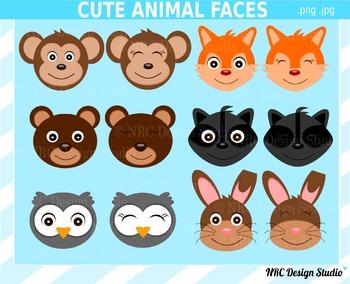 Cute Animal Faces Clip Art