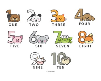 Cute Animal Numbers Poster