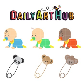 Cute Babies Crawling Art Clip Art - Great for Art Class Projects!