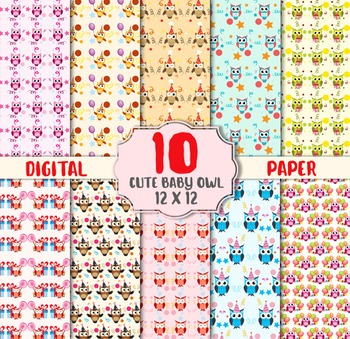 Cute Baby Owl Digital Paper