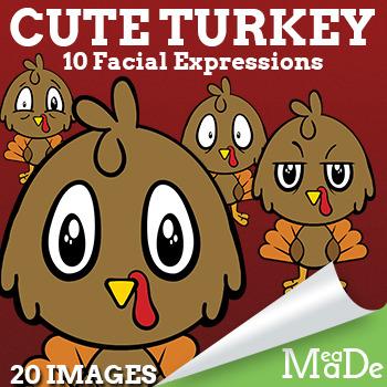 Cute Baby Turkey Clip Art - Facial Expressions - Thanksgiv