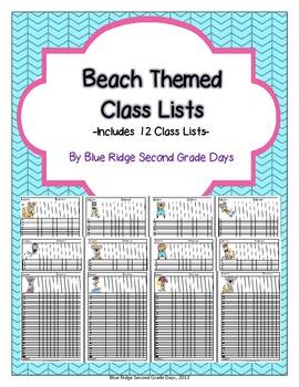 Cute Beach Themed Class Lists