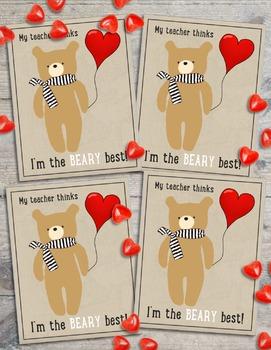 Cute Bear Valentine's Card From Teacher to Student - Freebie