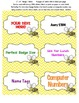 """Cute Bee Labels Badges Tags 3"""" x 4"""" 6 per page 9 designs C"""