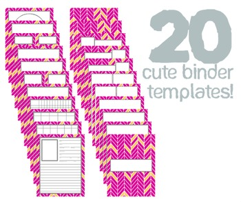 Cute Binder Template Pages - Pink and Orange Split Chevron