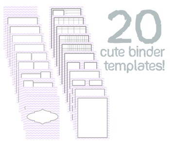 Cute Binder Template Pages - Purple Chevron