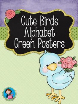 Cute Birds Green Alphabet Posters