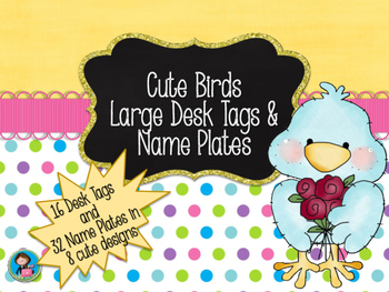 Cute Birds Large Desk Tags & Name Plates