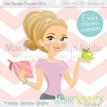 Cute Blonde Teacher 003- Premade Character Graphic