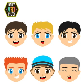 Cute Boy Faces Clip Art - Great for Art Class Projects! Ma